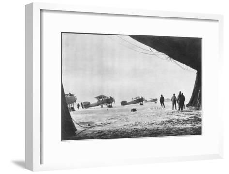 Departure of French Breguet Planes for a Reconnaissance Mission During Winter, 1914-1918--Framed Art Print