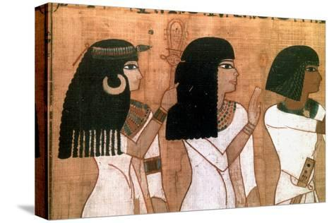 Three Sisters, Detail from an Ancient Egyptian Mural--Stretched Canvas Print
