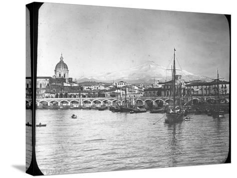 Catania and Mount Etna, Sicily, Italy, Late 19th or Early 20th Century--Stretched Canvas Print