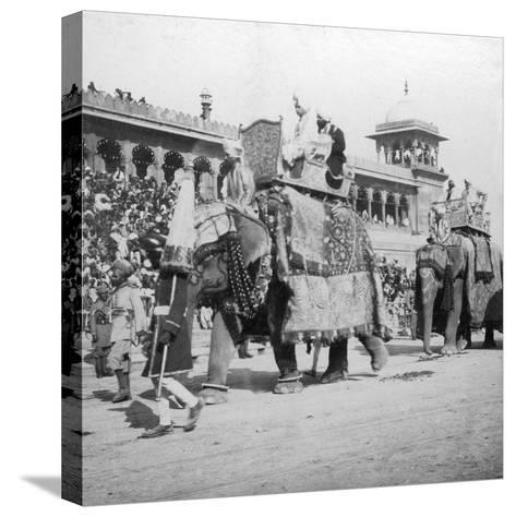 An Elephant Procession Passing Jumma Masjid, Delhi, India, 1900s- H & Son Hands-Stretched Canvas Print