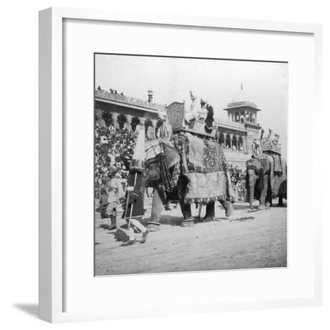 An Elephant Procession Passing Jumma Masjid, Delhi, India, 1900s- H & Son Hands-Framed Art Print
