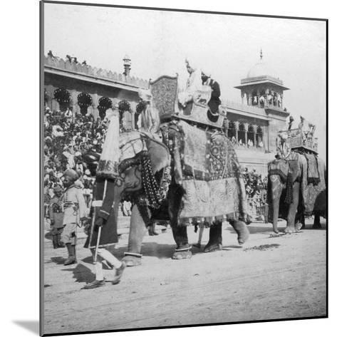 An Elephant Procession Passing Jumma Masjid, Delhi, India, 1900s- H & Son Hands-Mounted Giclee Print