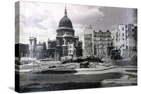 View of East End of St Paul's Showing Air Raid Damage in the Vicinity, London, C1941--Stretched Canvas Print