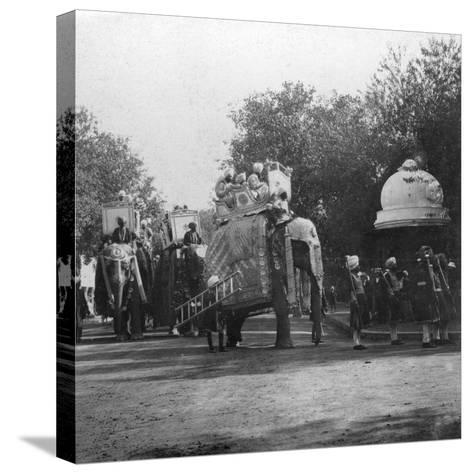 A Punjabi Princess in an Elephant Procession, Delhi, India, 1900s- H & Son Hands-Stretched Canvas Print