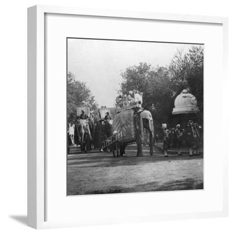 A Punjabi Princess in an Elephant Procession, Delhi, India, 1900s- H & Son Hands-Framed Art Print