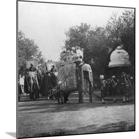 A Punjabi Princess in an Elephant Procession, Delhi, India, 1900s- H & Son Hands-Mounted Giclee Print