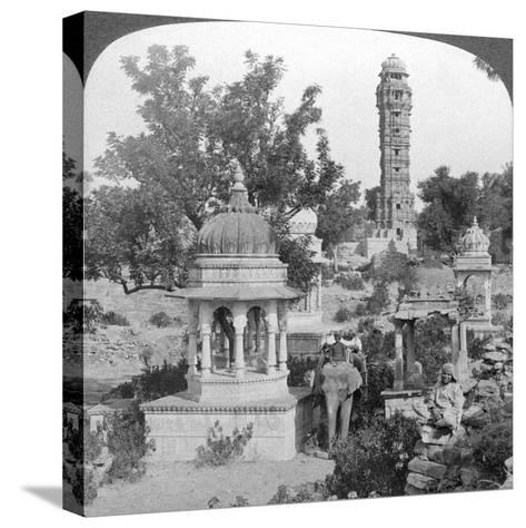 Tower of Victory Amd Royal Cenotaphs, Chittaurgarh, India, 1904-Underwood & Underwood-Stretched Canvas Print