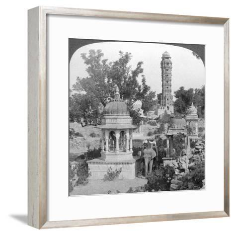 Tower of Victory Amd Royal Cenotaphs, Chittaurgarh, India, 1904-Underwood & Underwood-Framed Art Print