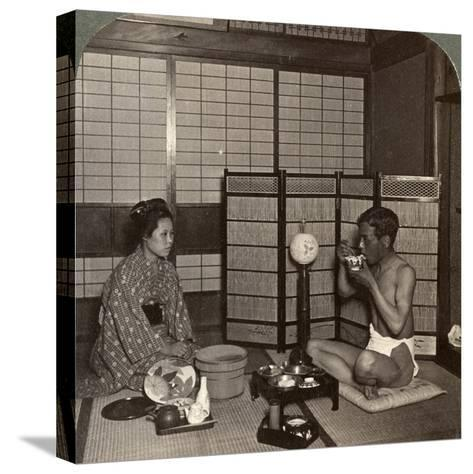 Summer Evening Meal at a Hotel, Hiroshima, Japan, 1904-Underwood & Underwood-Stretched Canvas Print