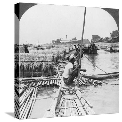 Rafts on the Irrawaddy River, Mandalay, Burma, 1908--Stretched Canvas Print