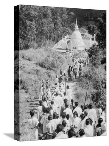 Procession to a Buddhist Temple, Diyatalawa, Ceylon, C1945--Stretched Canvas Print