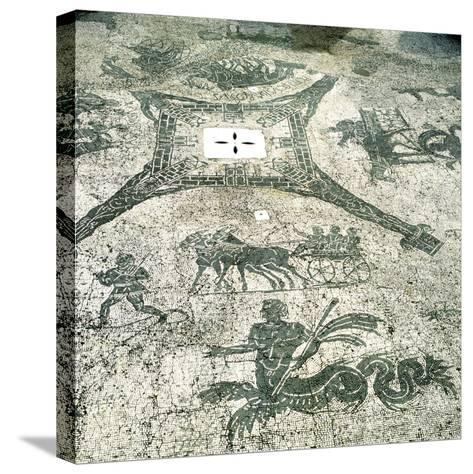 Mosaic, Carts Pulled by Mules with Travellers, Cisarii. C1st Century--Stretched Canvas Print
