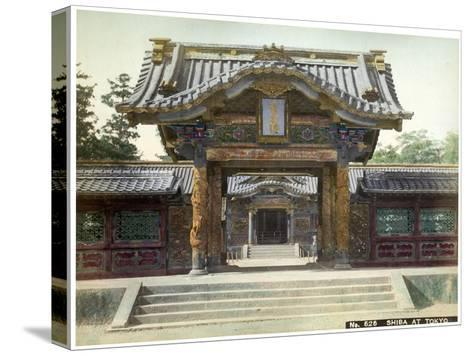 Temple Gate, Shiba, Tokyo, Japan, Early 20th Century--Stretched Canvas Print