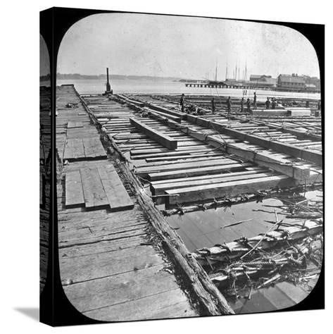 Timber Raft, Canada, Late 19th or Early 20th Century--Stretched Canvas Print