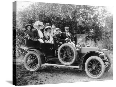 A Group of Men and Women Taking an Outing in a 1907 Mercedes, 1908--Stretched Canvas Print
