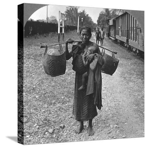 Shan Woman and Child, Upper Burma, 1908--Stretched Canvas Print