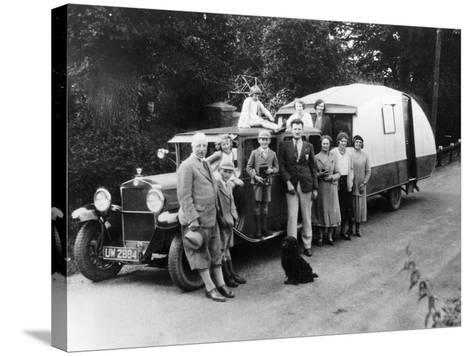 Family Group with their 1930 Fiat Towing a Caravan, (C1930)--Stretched Canvas Print