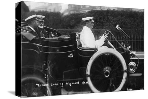 King George V Leaving Weymouth, Dorset, by Car, 11th March 1912--Stretched Canvas Print