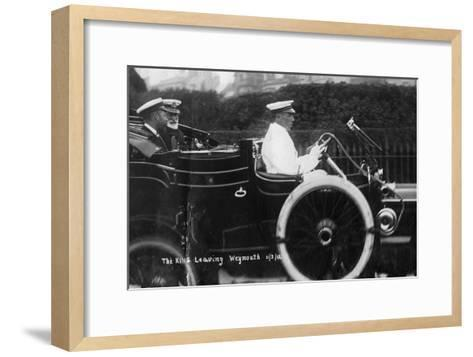 King George V Leaving Weymouth, Dorset, by Car, 11th March 1912--Framed Art Print