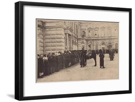 A Russian Bread Line Guarded by the Imperial Police, March 1917--Framed Art Print