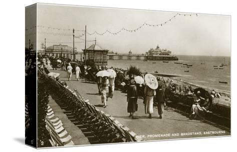 Pier, Promenade and Bandstand, Eastbourne, Sussex, C1920S--Stretched Canvas Print