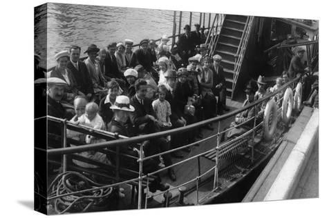 Passengers on Board a Boat, Bournemouth, Dorset, 1921--Stretched Canvas Print