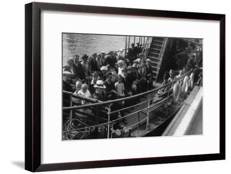 Passengers on Board a Boat, Bournemouth, Dorset, 1921--Framed Art Print