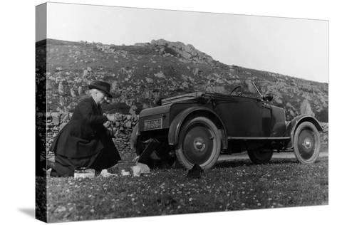 A Woman Picnicking Next to Her Air-Cooled Rover 8, C1919-C1925--Stretched Canvas Print