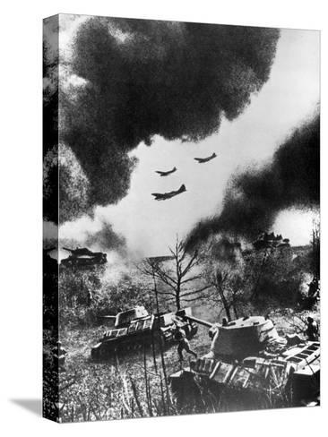 Soviet Tanks and Aircraft Launching an Attack, Russia, 1943--Stretched Canvas Print