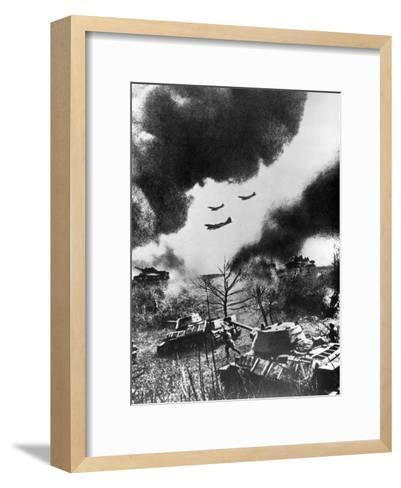 Soviet Tanks and Aircraft Launching an Attack, Russia, 1943--Framed Art Print