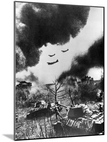 Soviet Tanks and Aircraft Launching an Attack, Russia, 1943--Mounted Giclee Print