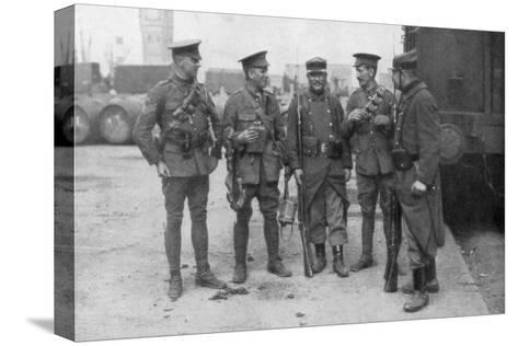 British and French Troops Fraternising, France, August 1914--Stretched Canvas Print