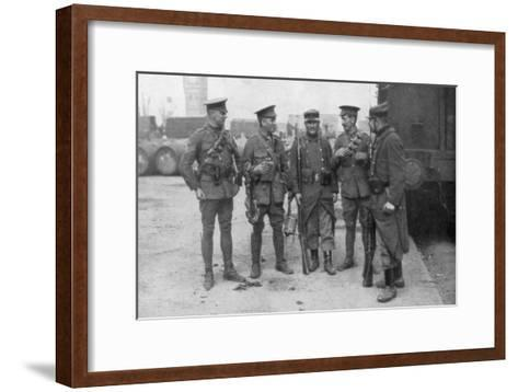 British and French Troops Fraternising, France, August 1914--Framed Art Print