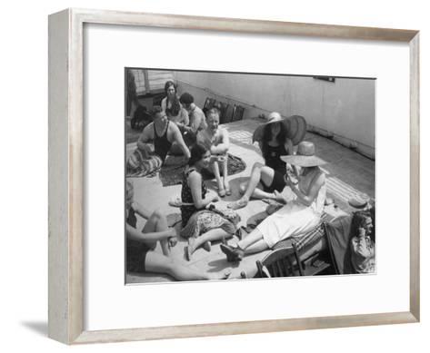Passengers Sunbathing on Board a Cruise Ship, C1920S-C1930S--Framed Art Print