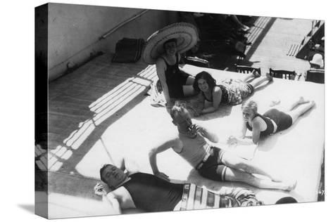 Passengers Sunbathing on Board a Cruise Ship, C1920S-C1930S--Stretched Canvas Print