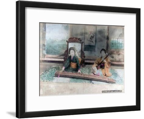 Japanese Music: Women Playing Koto and Samisen, Kobe, Japan--Framed Art Print