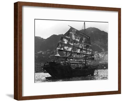 Chinese Boat in a Harbour, 20th Century--Framed Art Print