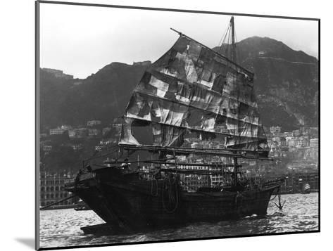 Chinese Boat in a Harbour, 20th Century--Mounted Giclee Print
