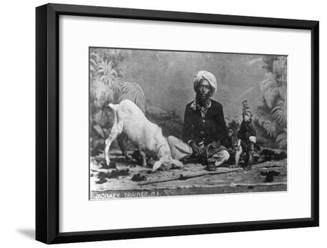 Monkey Trainer, India, 20th Century--Framed Art Print