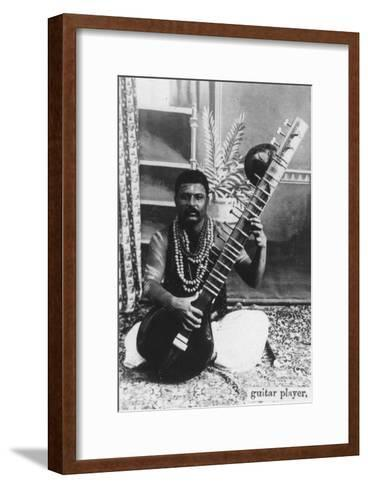 Sitar Player, India, 20th Century--Framed Art Print
