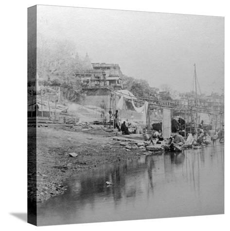 Bathing Ghat, Benares, India, Late 19th or Early 20th Century-BW Kilburn-Stretched Canvas Print