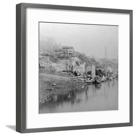 Bathing Ghat, Benares, India, Late 19th or Early 20th Century-BW Kilburn-Framed Art Print