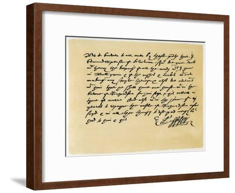 Letter from Grant, as Edward Spenser to One Mchenry, C1589-Edward Spenser-Framed Art Print