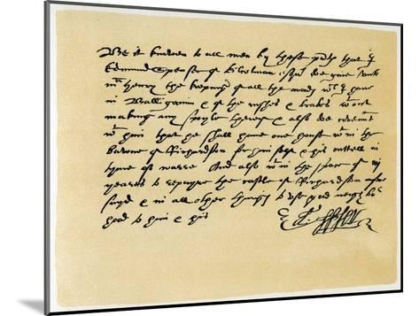 Letter from Grant, as Edward Spenser to One Mchenry, C1589-Edward Spenser-Mounted Giclee Print