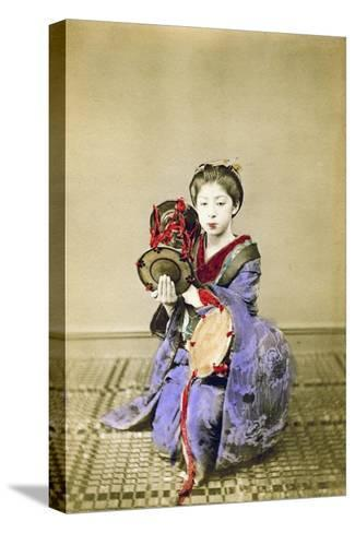 Geisha Playing the Tsuzumi, Japan, 1882-Felice Beato-Stretched Canvas Print