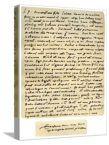Letter from Desiderius Erasmus to Nicholas Everaerts, 24th December 1525-Desiderius Erasmus-Stretched Canvas Print