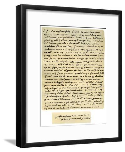 Letter from Desiderius Erasmus to Nicholas Everaerts, 24th December 1525-Desiderius Erasmus-Framed Art Print