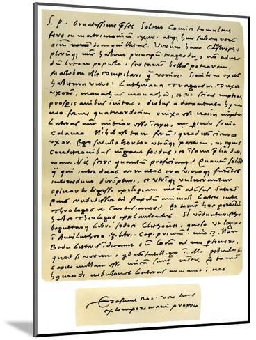 Letter from Desiderius Erasmus to Nicholas Everaerts, 24th December 1525-Desiderius Erasmus-Mounted Giclee Print