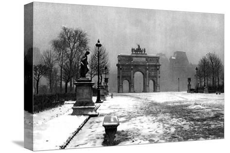 The Tuileries under Snow and the Carrousel Arch, Paris, 1931-Ernest Flammarion-Stretched Canvas Print