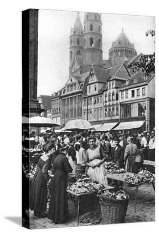 The Market Place at Worms Cathedral, Worms, Germany, 1922-Donald Mcleish-Stretched Canvas Print